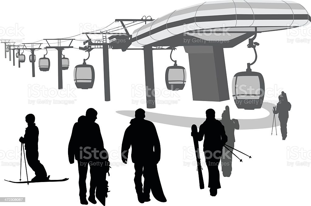 Ski Lift royalty-free stock vector art