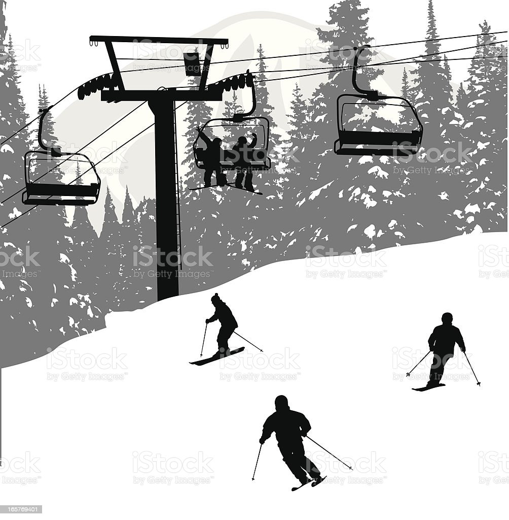 Ski Lifters Vector Silhouette vector art illustration