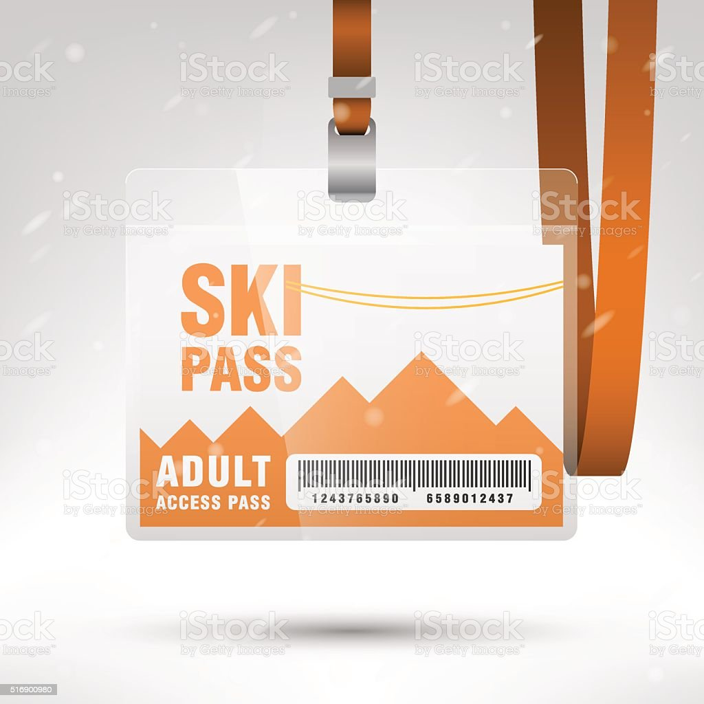 Ski pass vector illustration vector art illustration
