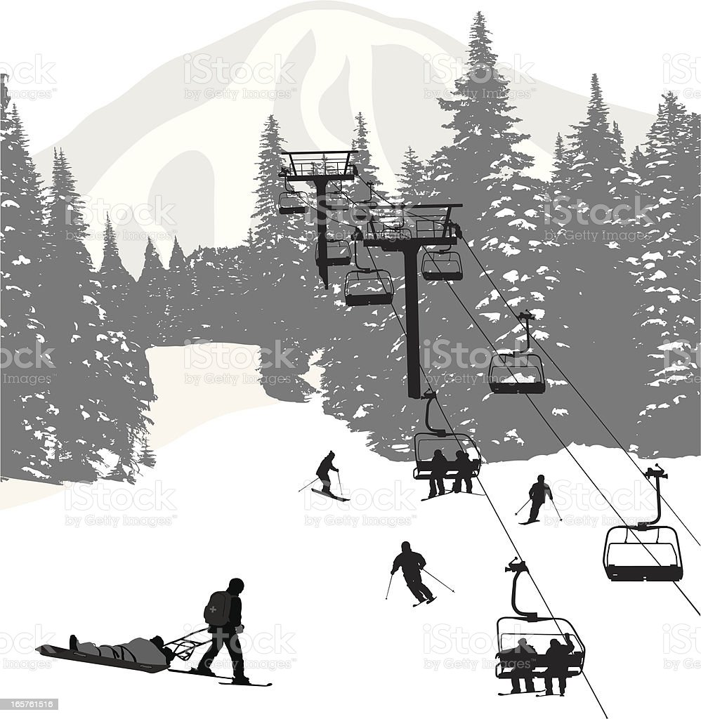 Ski Rescue Vector Silhouette royalty-free stock vector art