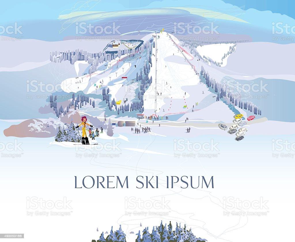 Ski resort aerial view vector art illustration