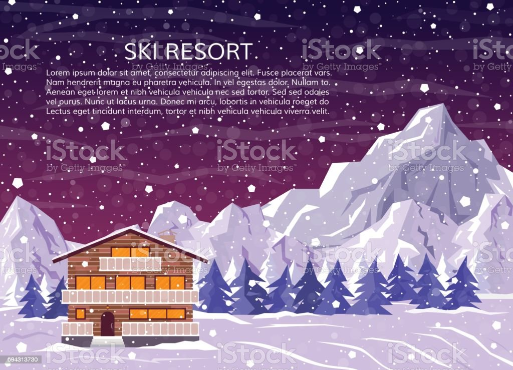 Ski resort house or hotel on mountain landscape, pine forest and falling snow. Winter family house for xmas holidays at night. Vector illustration for greeting card. vector art illustration