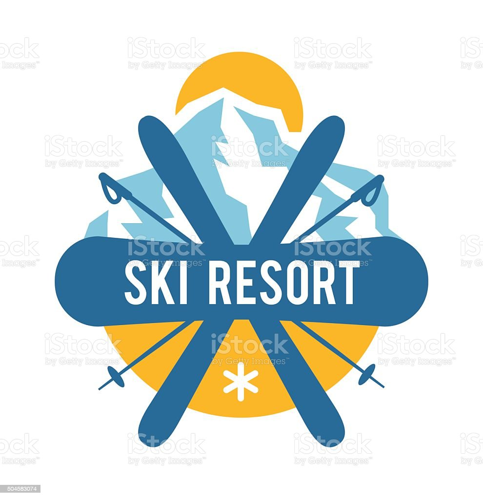 Ski resort icon badge emblem, label vector element vector art illustration