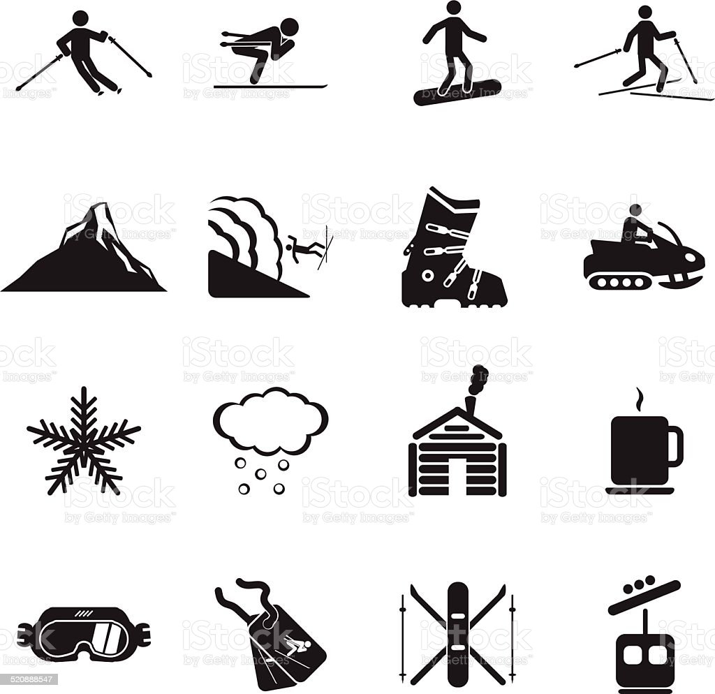 Ski resort icons set vector art illustration