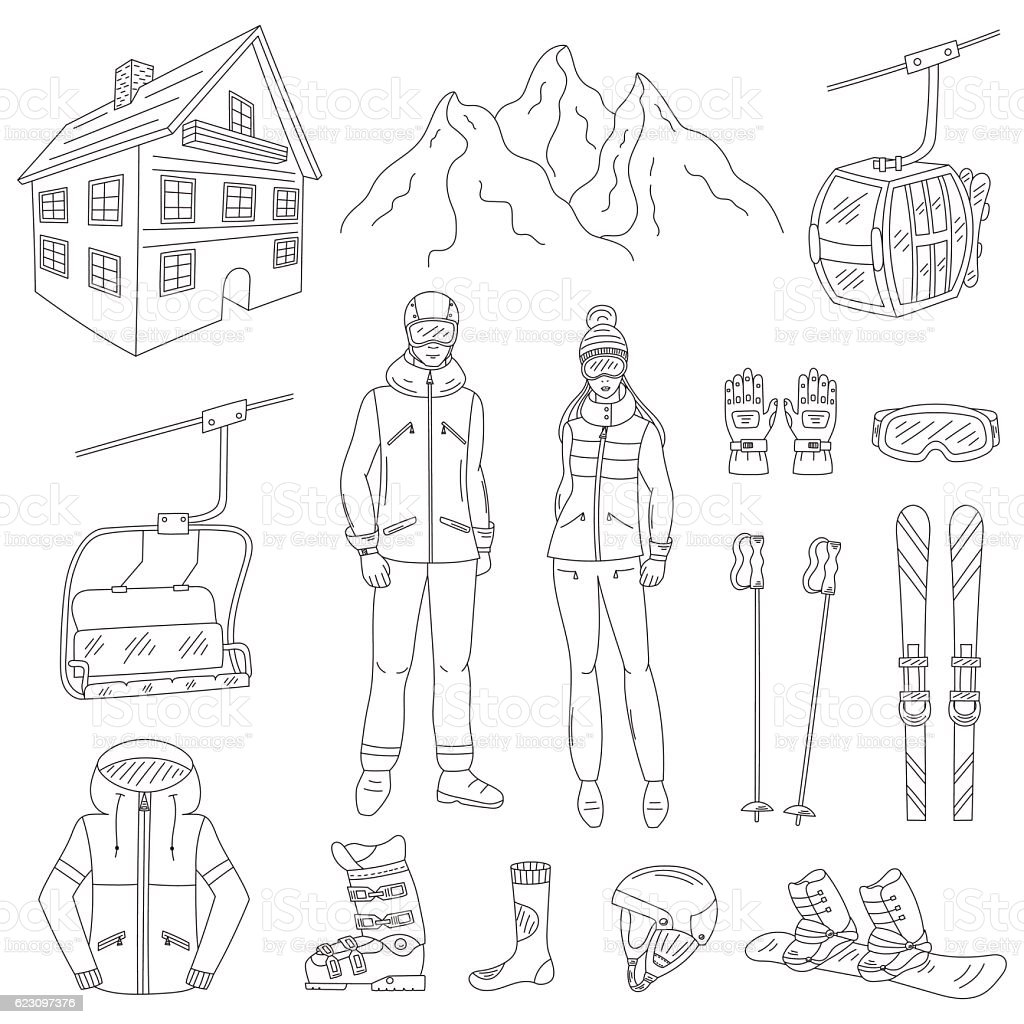 Ski resort icons set  vector illustration. vector art illustration