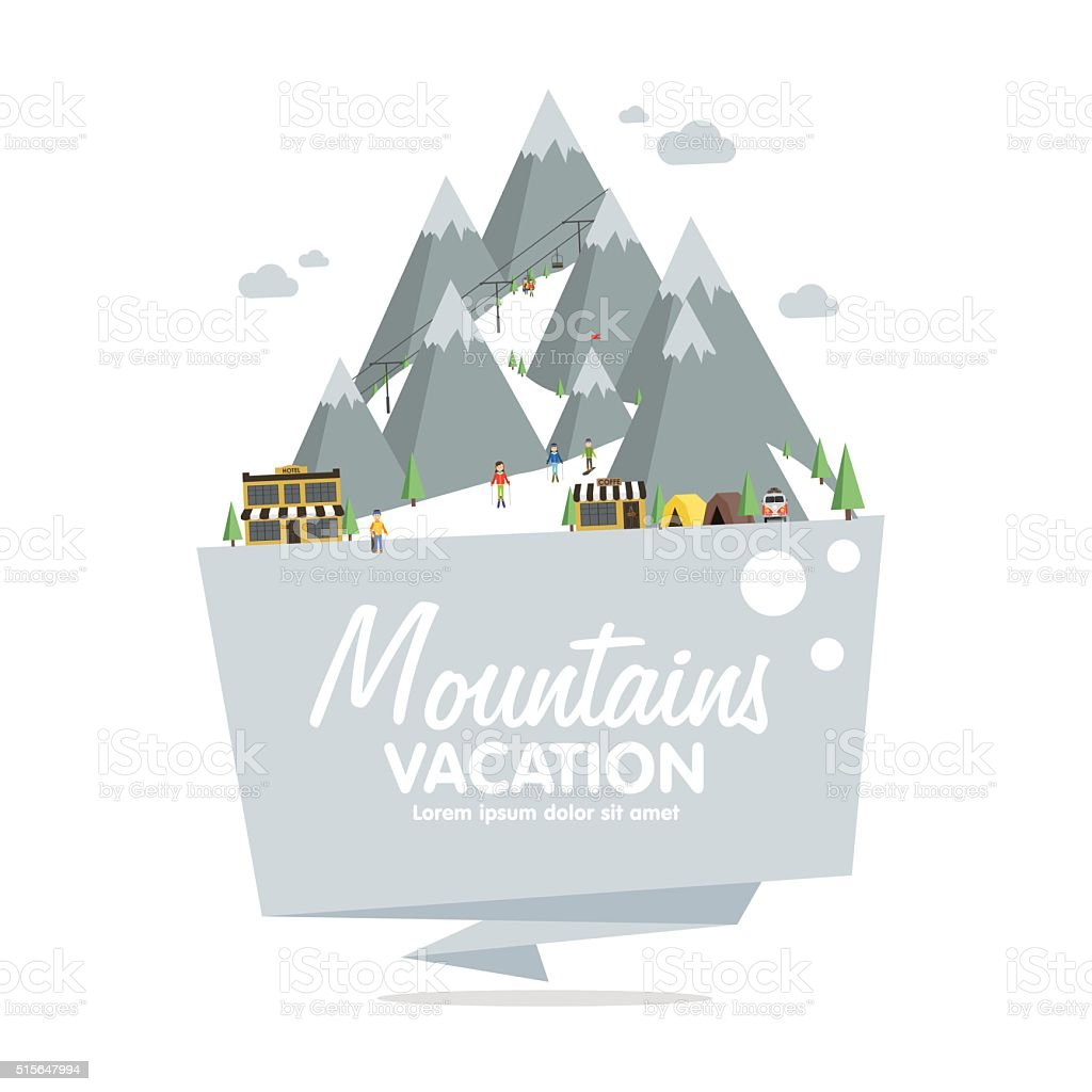 Ski resort in mountains, winter time, snow and fun vector art illustration