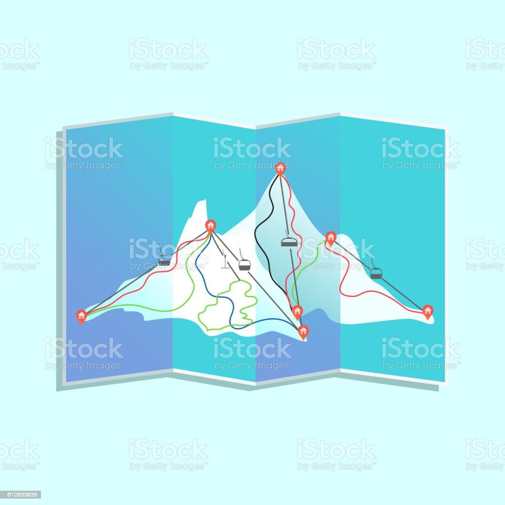 Ski resort map vector art illustration