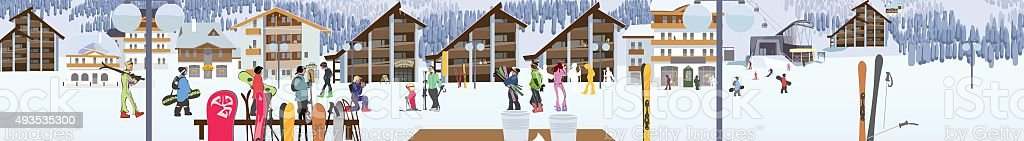 Ski resort, snow gun, hotel and ski lifts. Vector vector art illustration