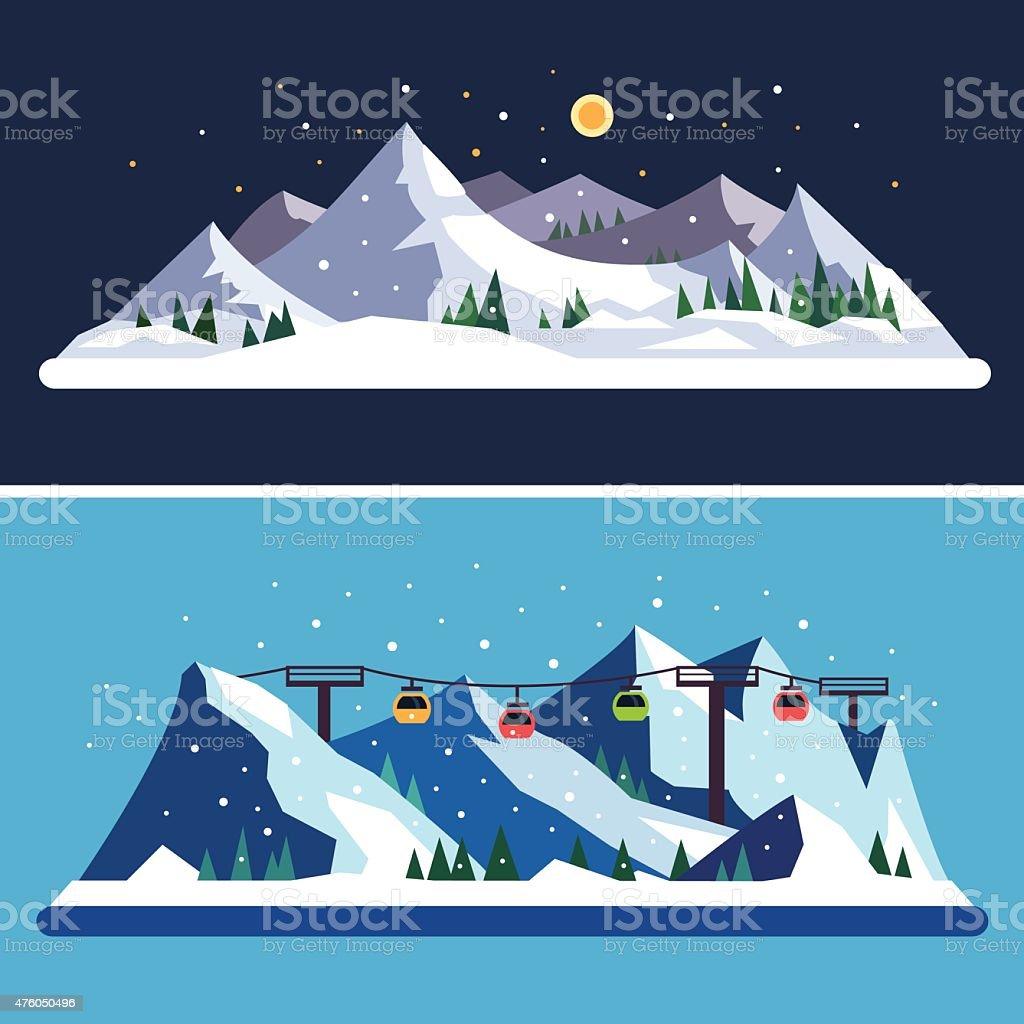 Ski Resort vector art illustration