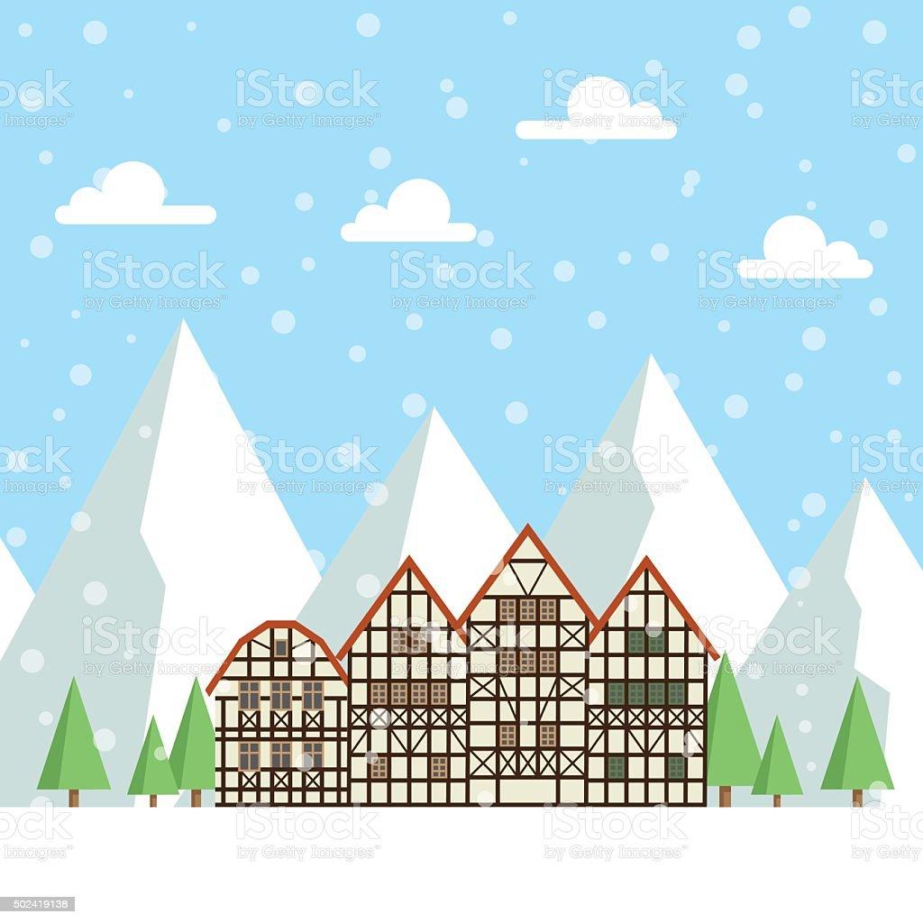 Ski resort vector illustration vector art illustration