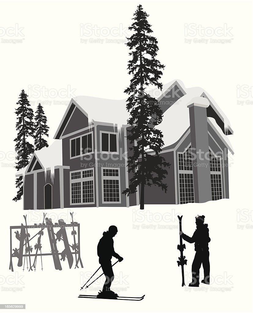 Ski Resort Vector Silhouette royalty-free stock vector art