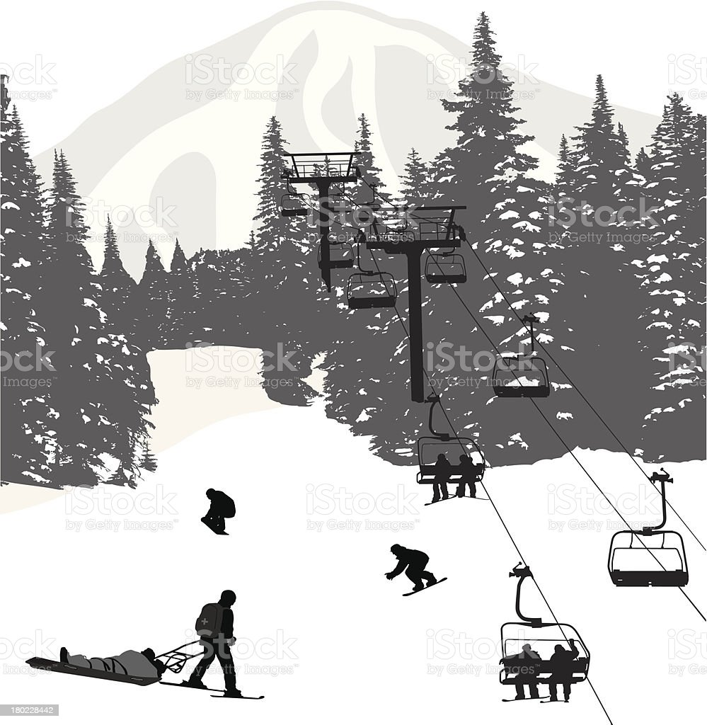 Ski Safety vector art illustration