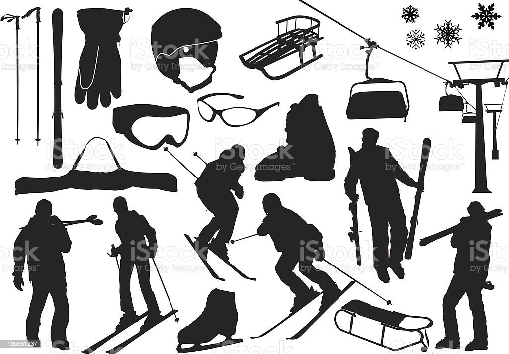Ski silhouettes vector art illustration