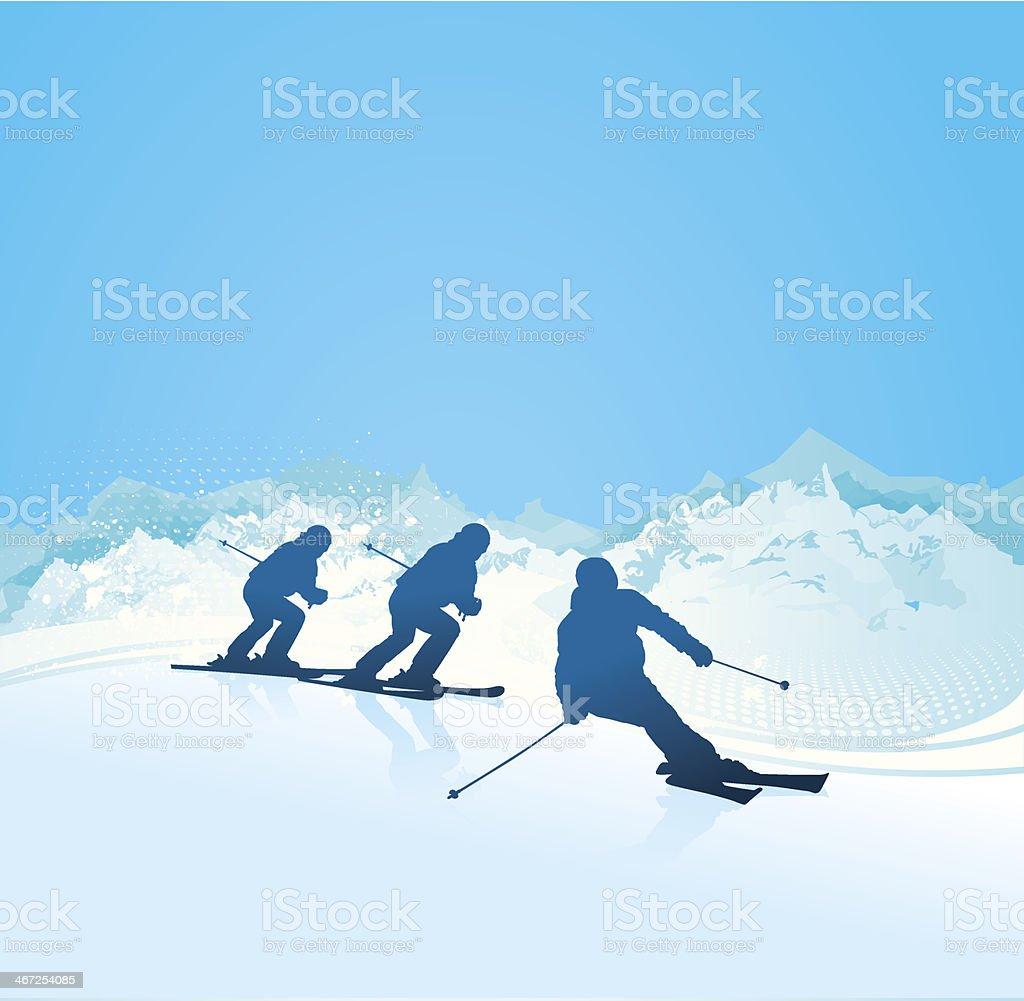 Ski Silhouettes royalty-free stock vector art
