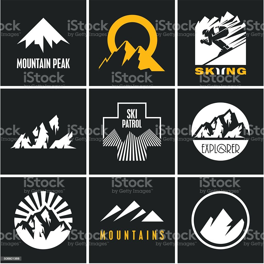 Ski. Skiing. Skier. Mountain icons set vector art illustration
