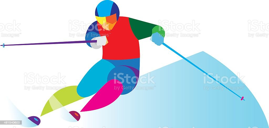 ski slalom vector art illustration