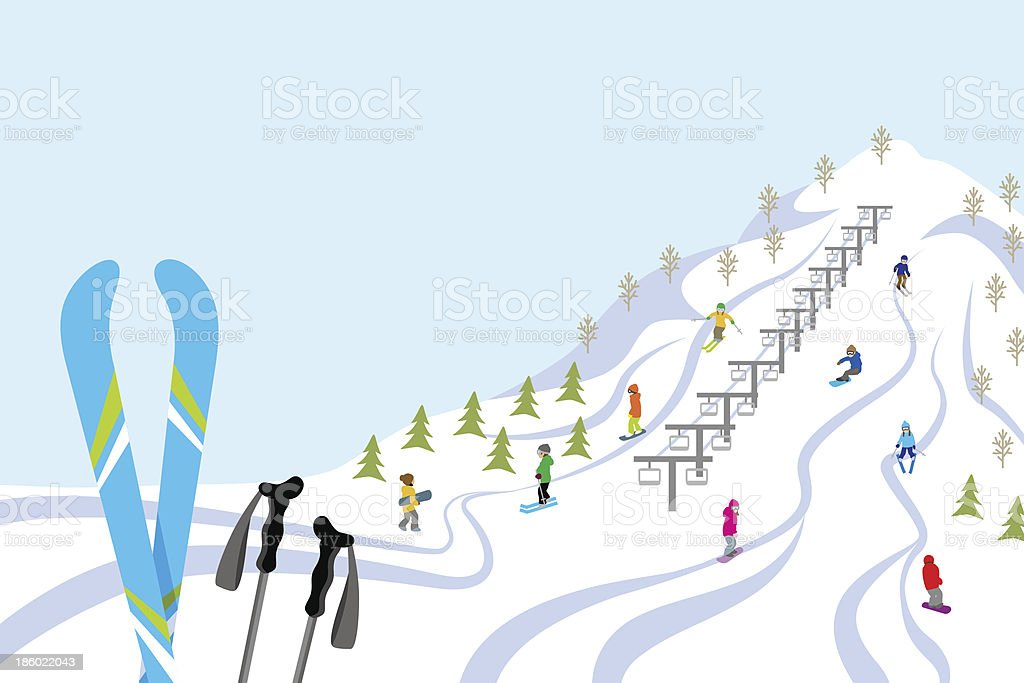 Ski slope, Horizontal vector art illustration