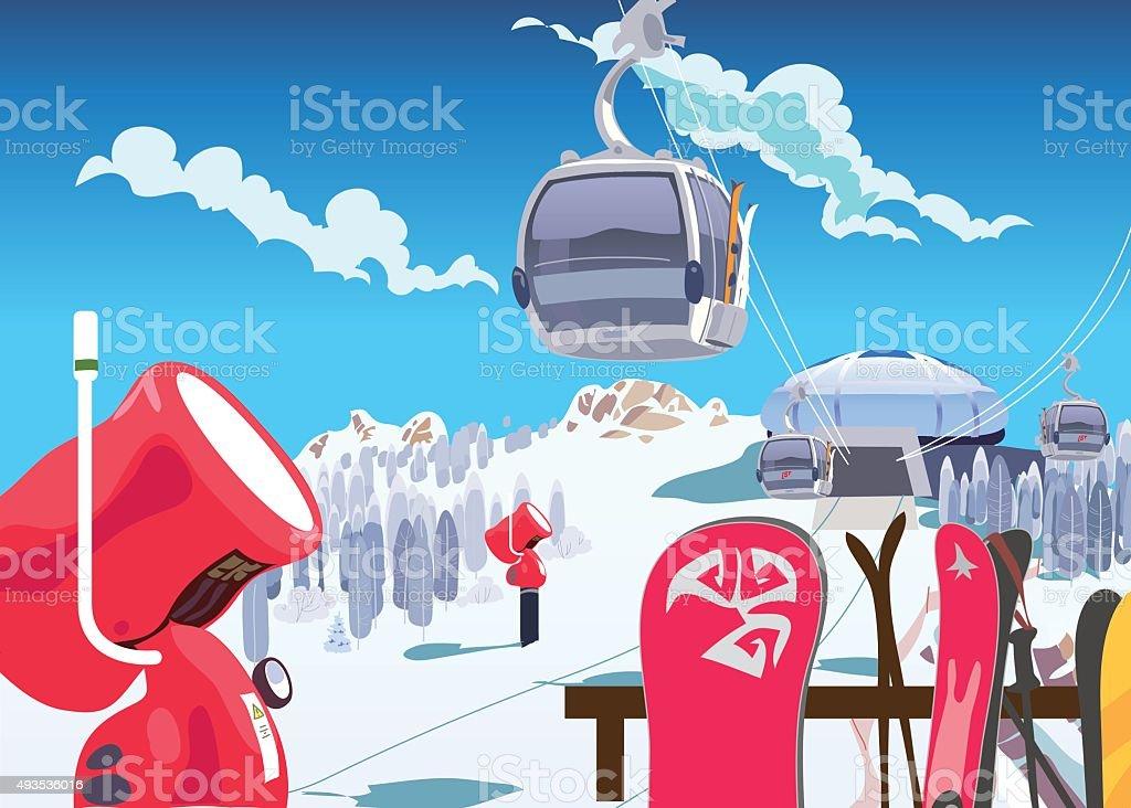 Ski slope lift, snow gun, winter holidays in the mountains vector art illustration