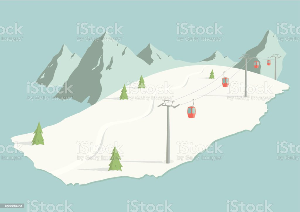 Ski Slope vector art illustration