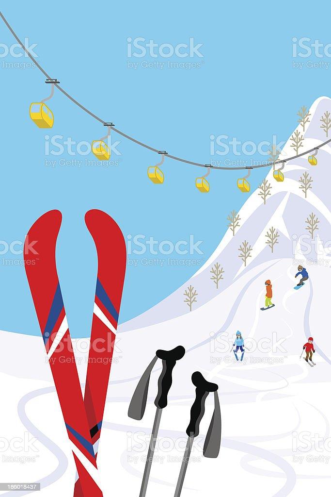 Ski slope, Vertical vector art illustration
