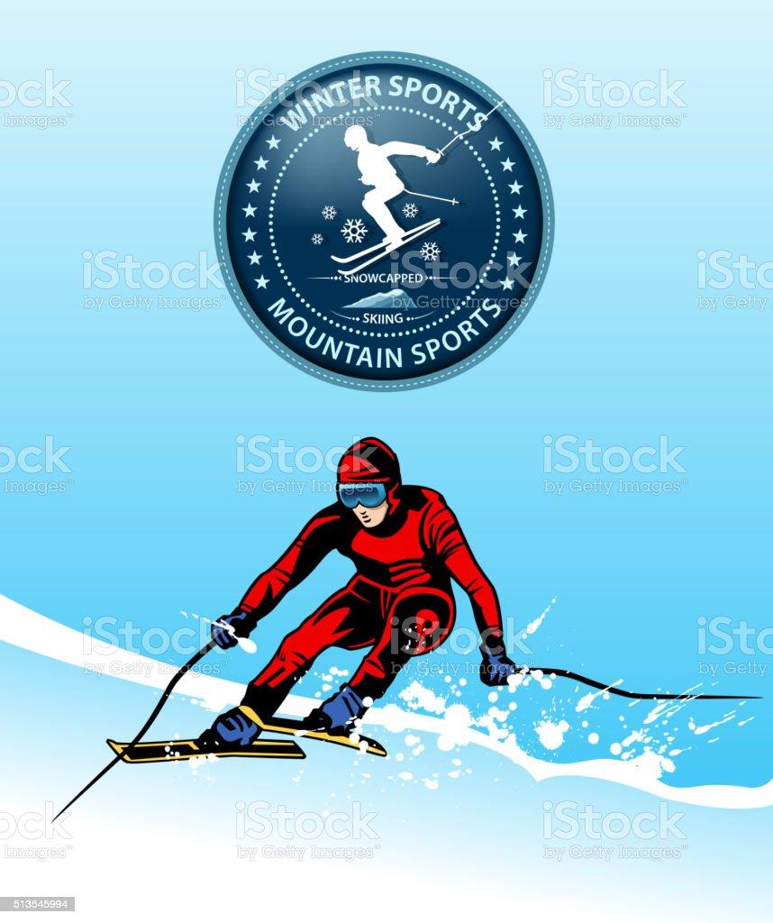 ski sport vector art illustration