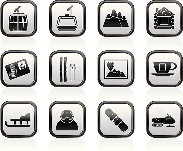 Set Of Snowboard Icons Clip Art, Vector Images & Illustrations ...