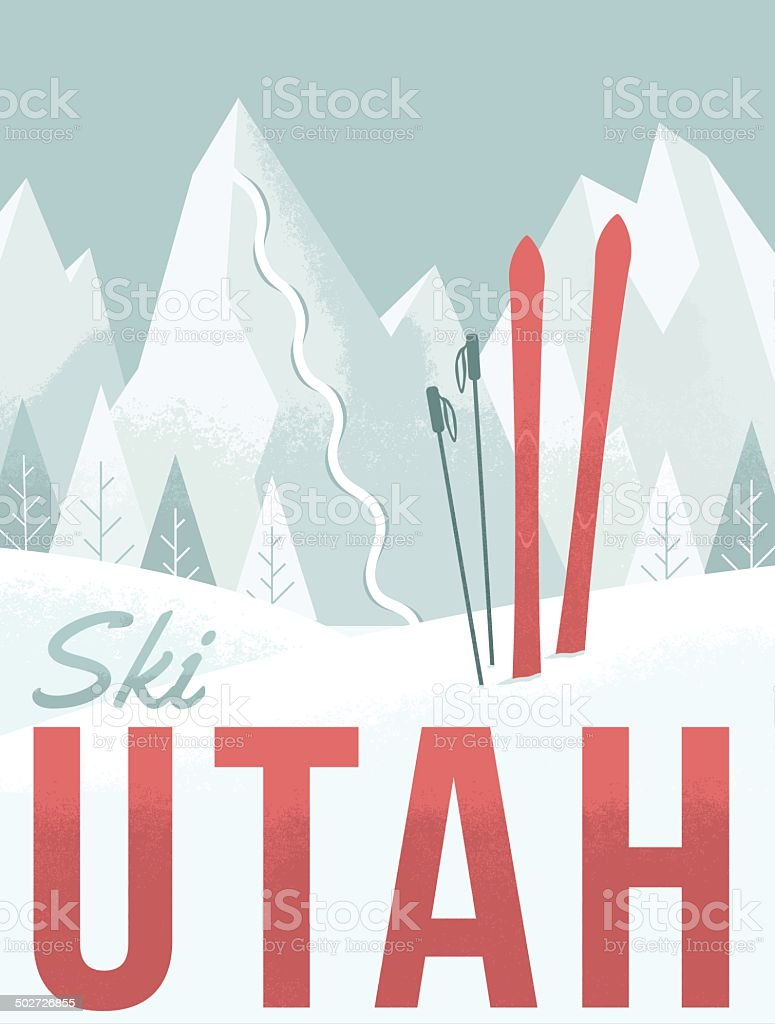 Ski Utah vector art illustration