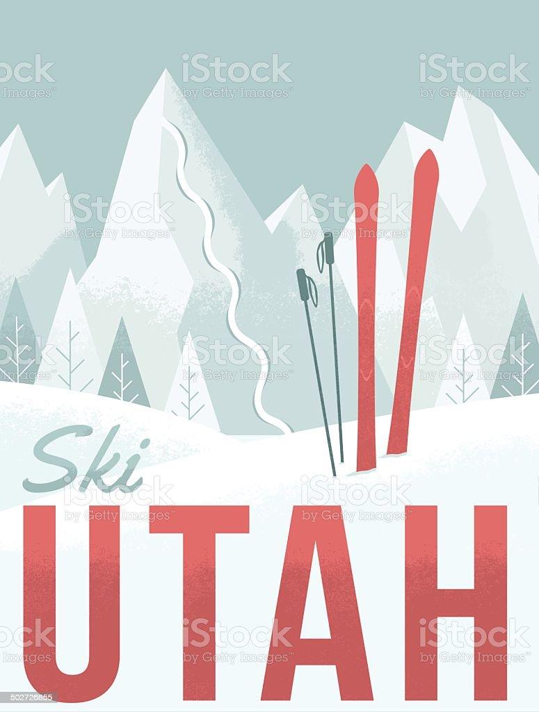 Ski Utah vector art illustration