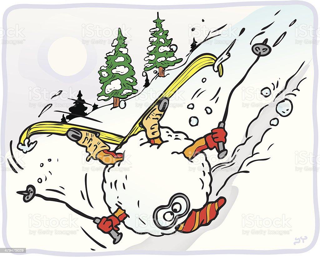 Ski Vacation Gone Bad (Vector) - Horizontal royalty-free stock vector art