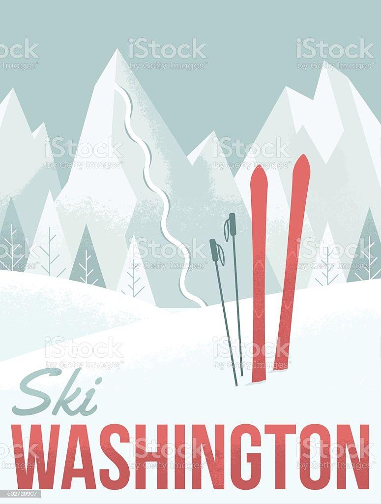 Ski Washington vector art illustration