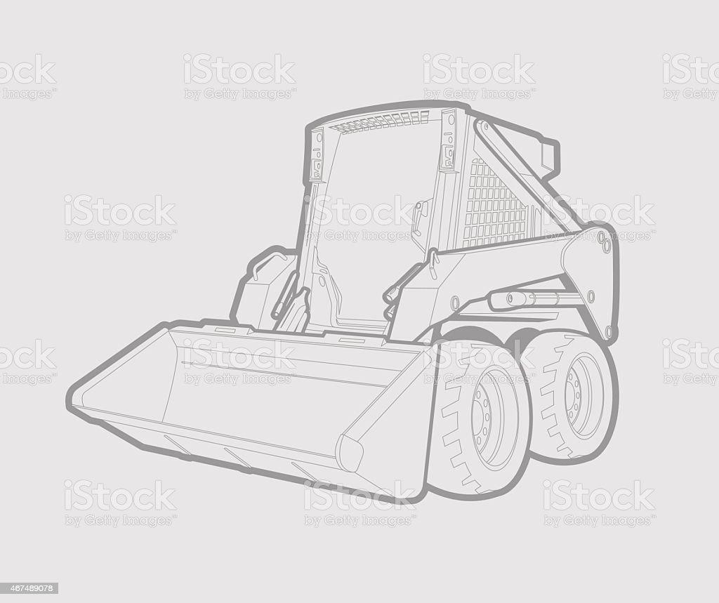 skid loader vector art illustration