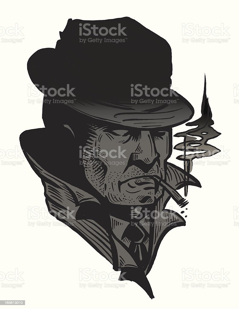 Skid McNeily Private Detective : 3qtr bust series royalty-free stock vector art