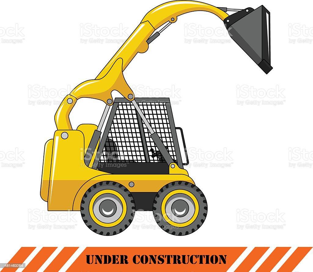 Skid steer loader. Heavy construction machine. vector art illustration