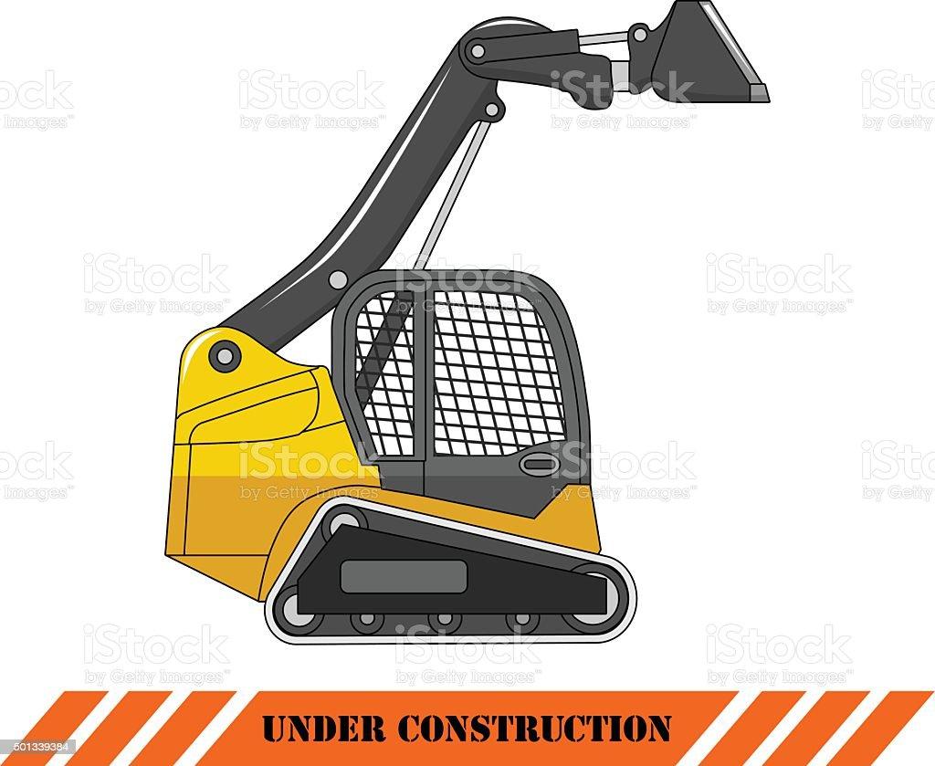 Skid steer loader. Heavy construction machine. Vector illustration vector art illustration
