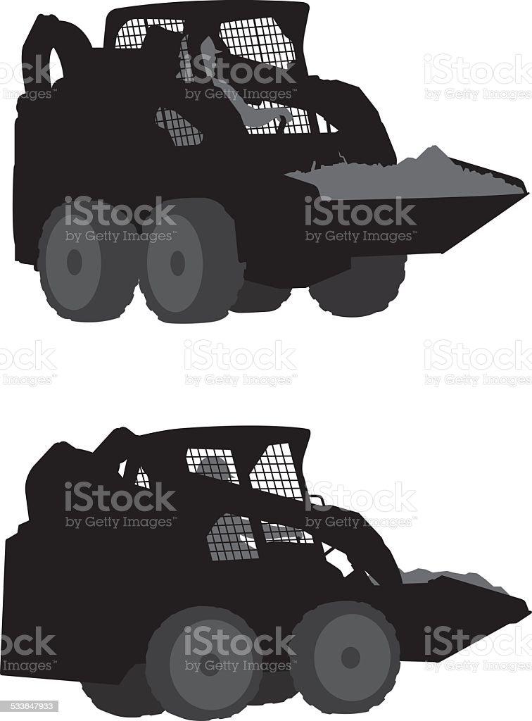 Skid Steer Loader Silhouette vector art illustration