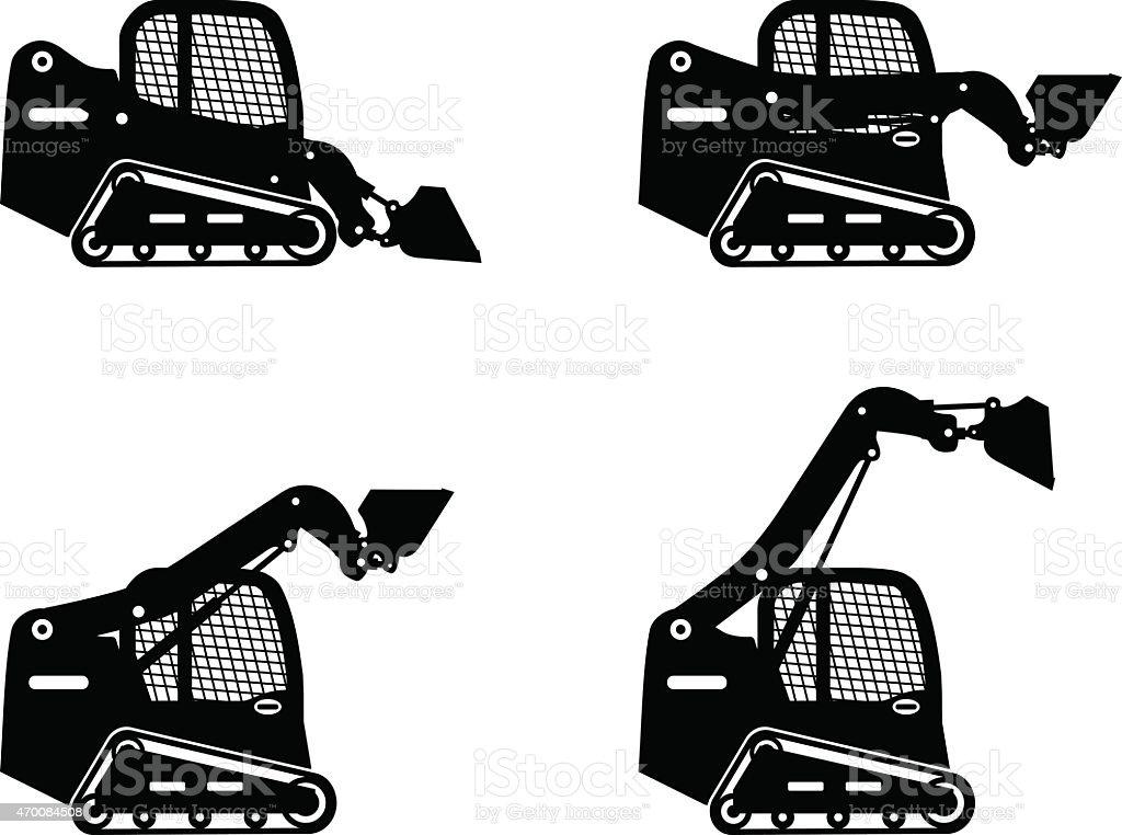 Skid steer loaders. Heavy construction machines. Vector illustration vector art illustration