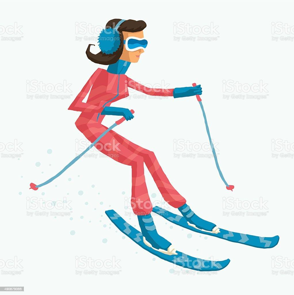 Skier, biathlete, freestyler or mountain-skier at winter tournaments vector art illustration