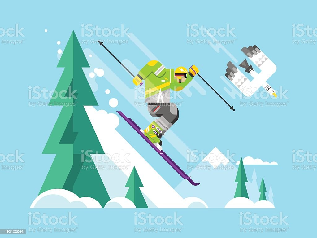 Skier character vector art illustration