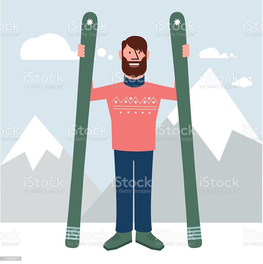 Skier front vector art illustration