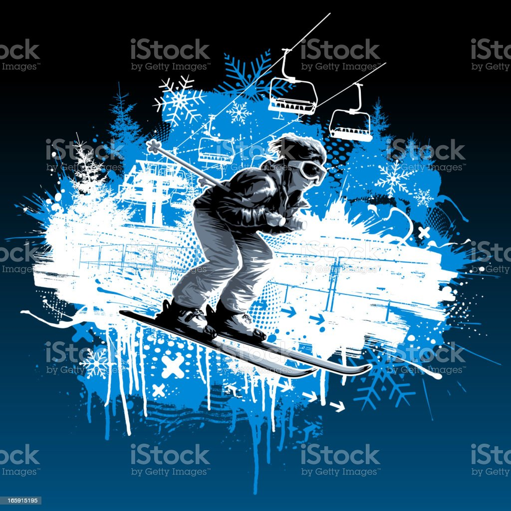 Skier grunge design royalty-free stock vector art