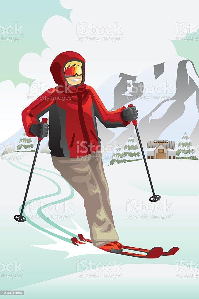 Skier in the mountain vector art illustration