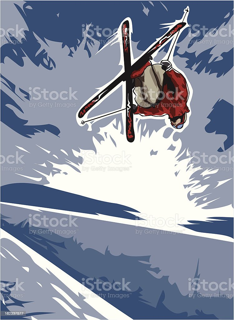 Skier Over Pipe royalty-free stock vector art
