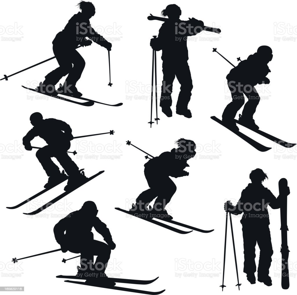 Skier silhouettes royalty-free stock vector art