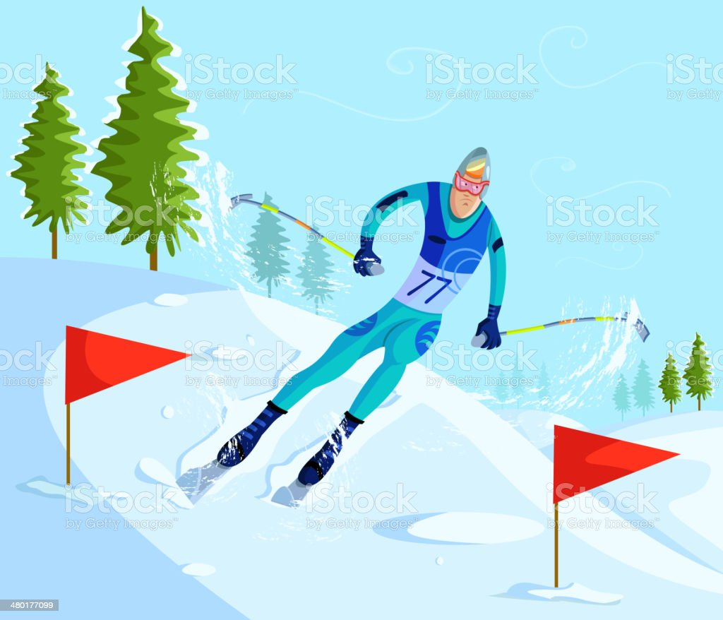 Skier Skiing on downhill vector art illustration