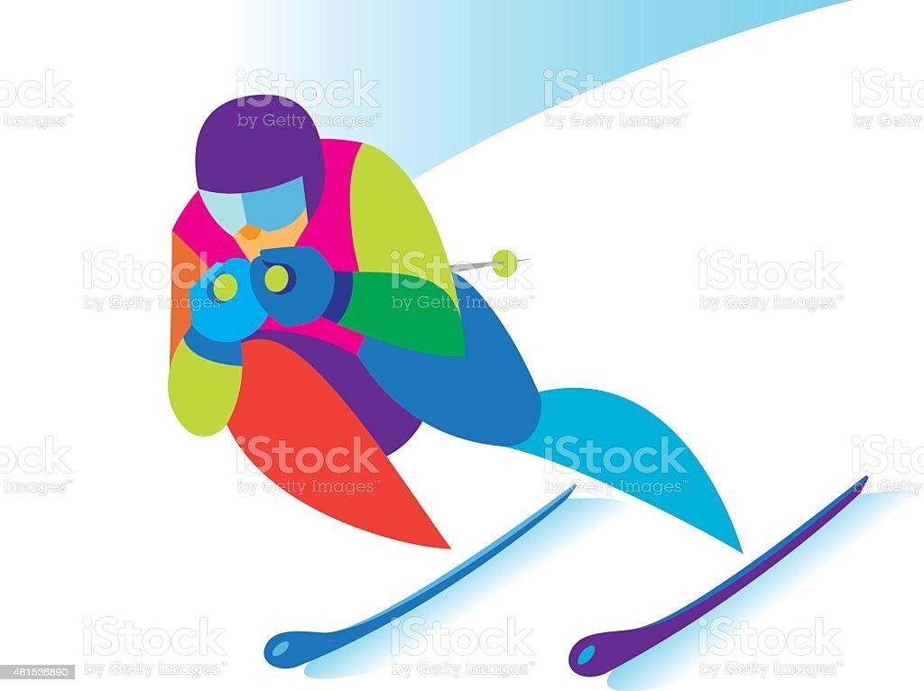 Skier vector art illustration
