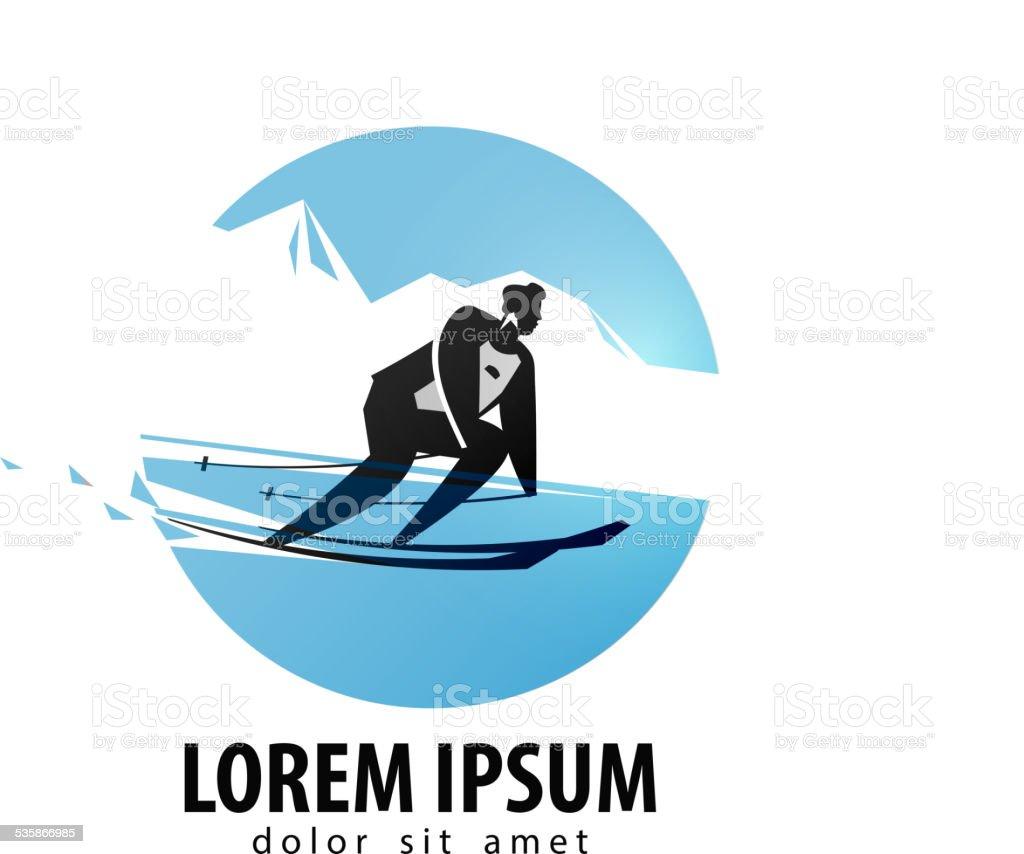 skier vector logo design template. skis or  sports icon vector art illustration