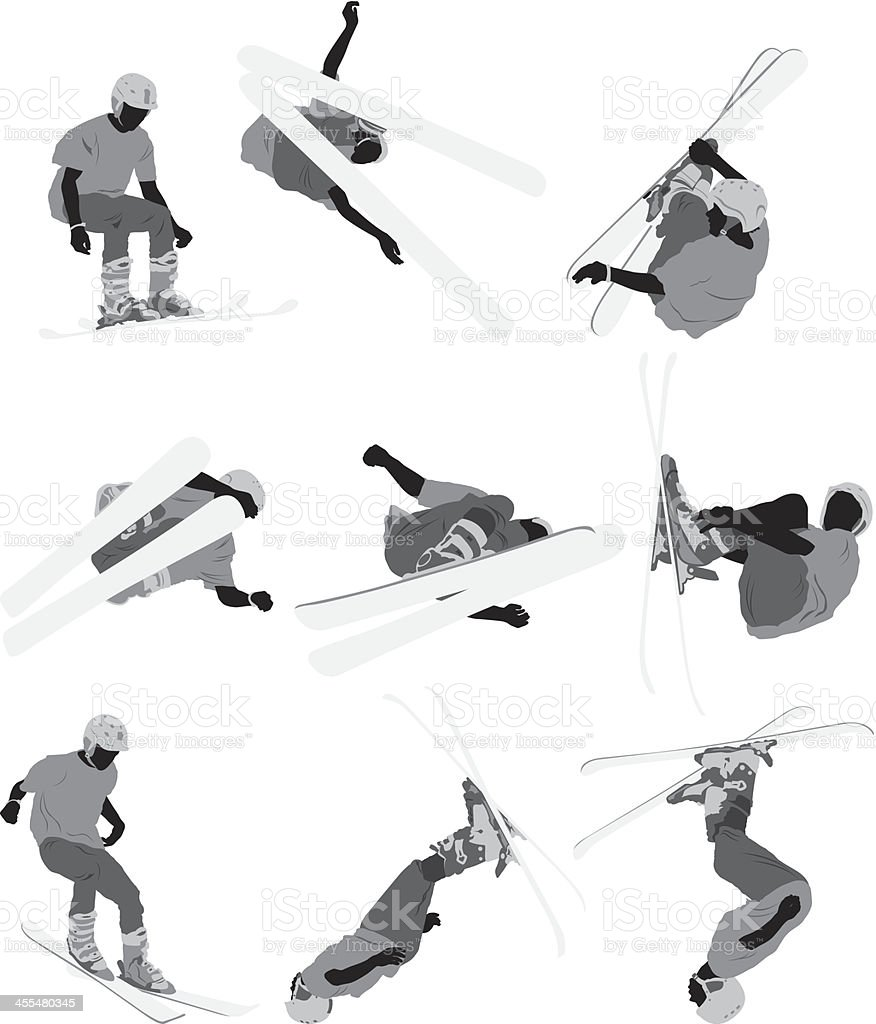Skiers in action vector art illustration