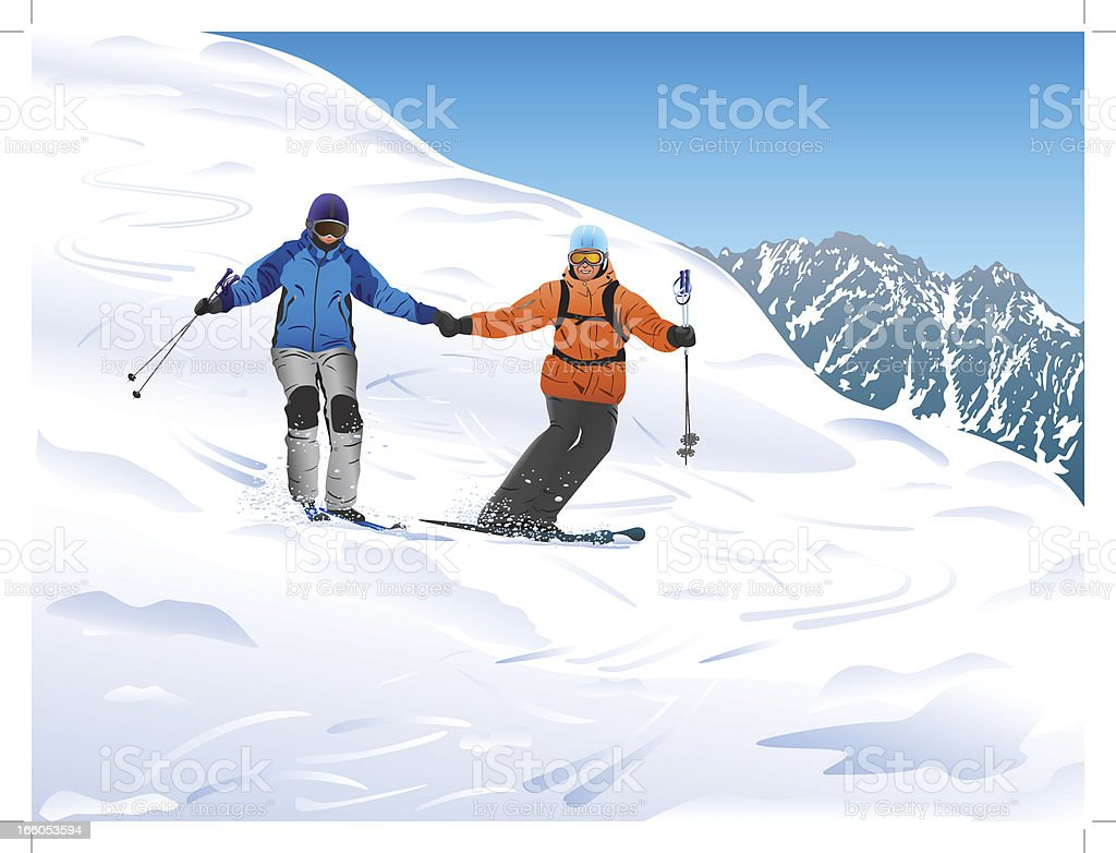 Skiers in the mountains royalty-free stock vector art