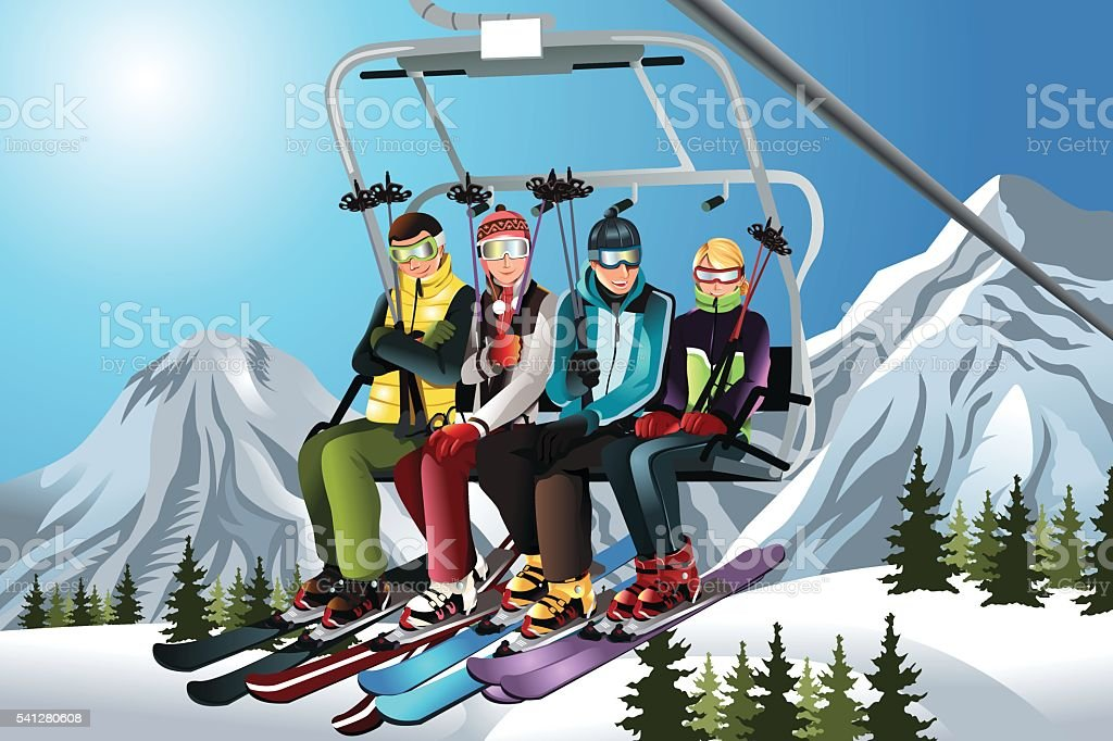 Skiers on the ski lift vector art illustration