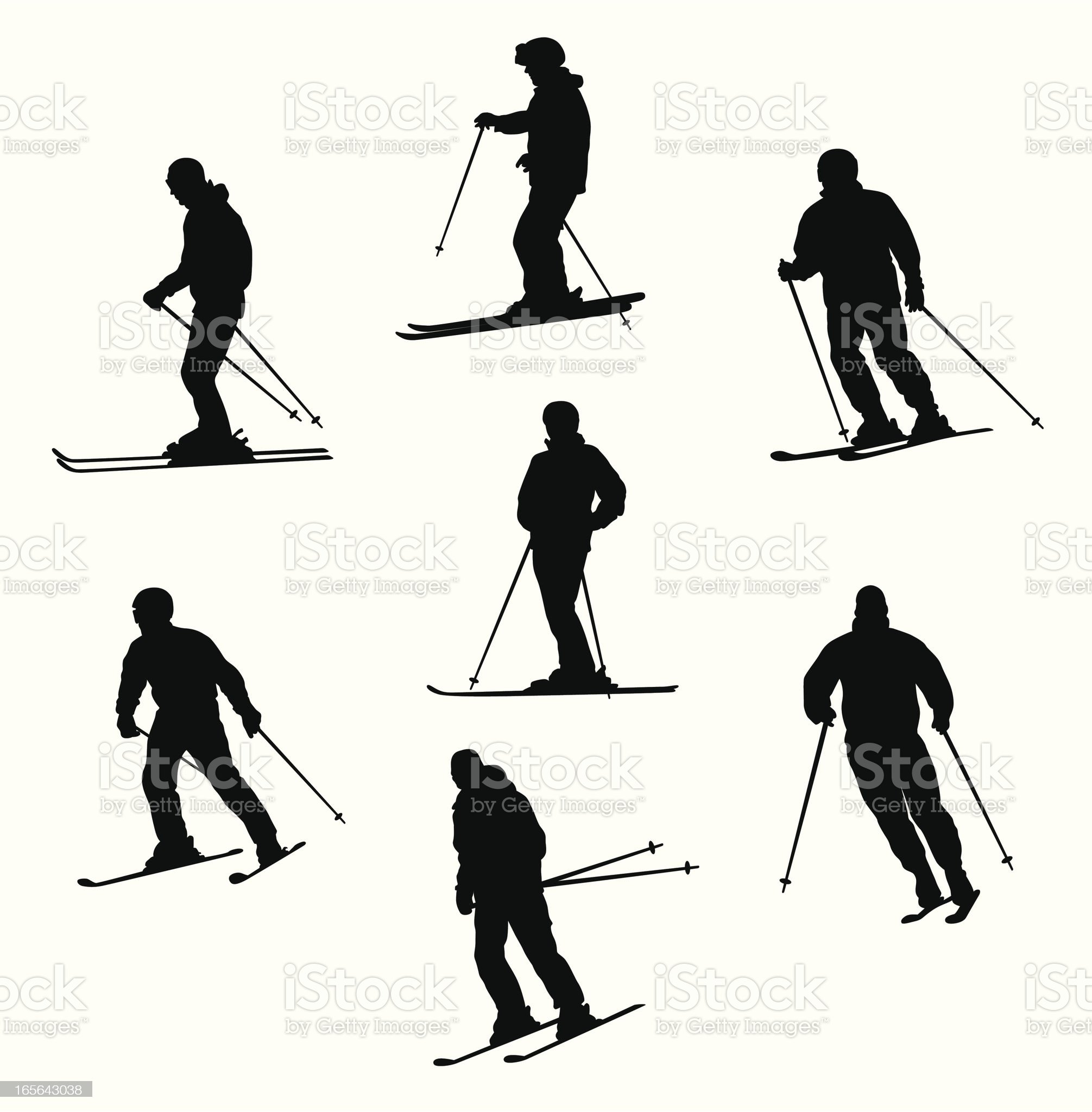 Skiers Vector Silhouette royalty-free stock vector art